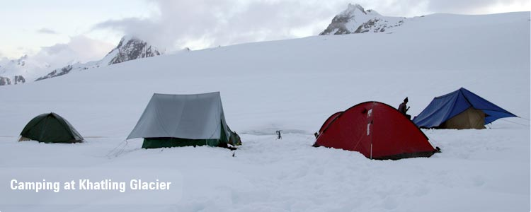 Camping in khatling glacier